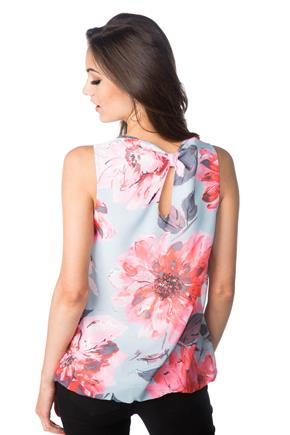 Bright Floral Top with Bubble Hem