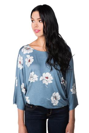 Floral Dolman Top with Side Tie