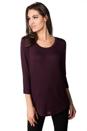Scoop Neck Sweater with Cuffed 3/4 Length Sleeves