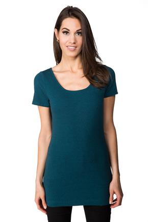 Tunic Length Cap Sleeve Tee with Scoop Neck