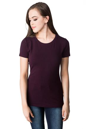 Tunic Length Cap Sleeve Tee with Crew Neck