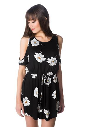 Floral Cold Shoulder Dress with Drawstring Waist