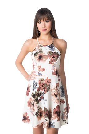 Floral Strappy Skater Dress with Criss Cross Open Back