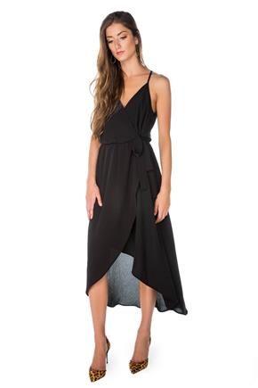 Wrap Maxi Dress with High-low Hem