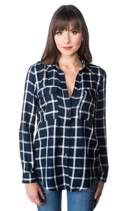Windowpane Plaid Shirt with Roll-up Sleeves