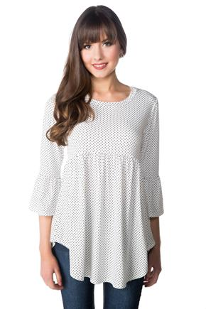 Polka Dot Babydoll Tunic with Bell Sleeves