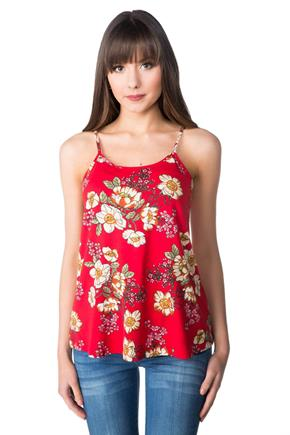 Floral Swing Cami with Back Ladder Detail