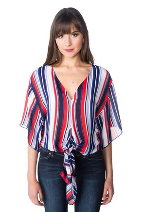 Vertical Stripe Dolman Top with Tie Front