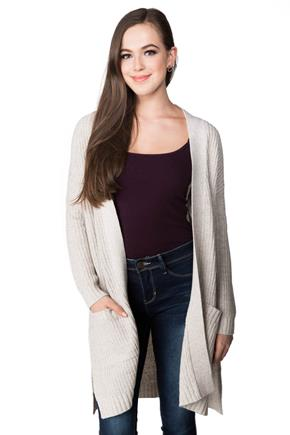 Open Cardigan with Patch Pockets and Side Slits
