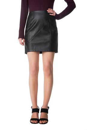 Faux Leather Asymmetrical Seam Mini Skirt