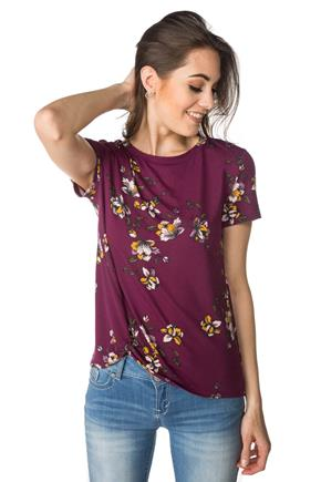 Floral Tee with Knotted Hem
