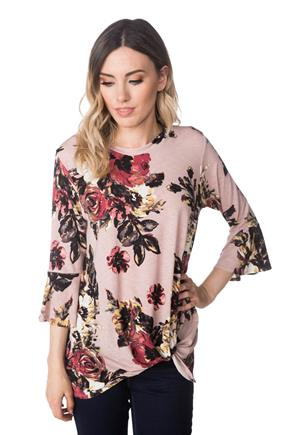 Floral Bell Sleeve Top with Knotted Hem