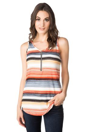 Multi Stripe Tank with Front Zipper