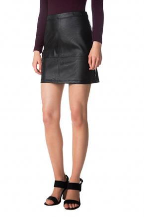 Multi-Seam Faux Leather Mini Skirt