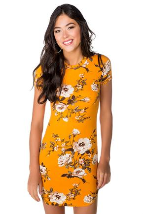Short Sleeve Floral Bodycon Dress