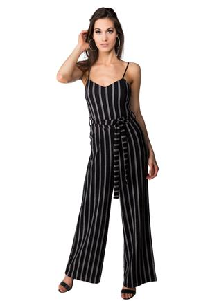 Striped Spaghetti Strap Jumpsuit with Pockets