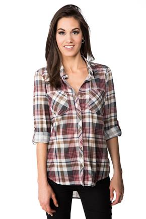 Plaid Shirt with Long Roll-up Sleeves and Chest Pockets