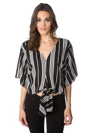 Textured Vertical Stripe Dolman Top with Tie Front