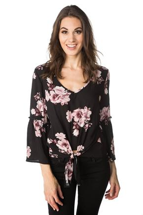 Floral Top with Bell Sleeves and Tie-front