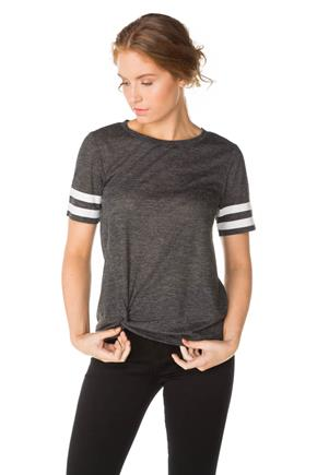 Short Sleeve Varsity Tee with Scoop Neck and Knotted Hem