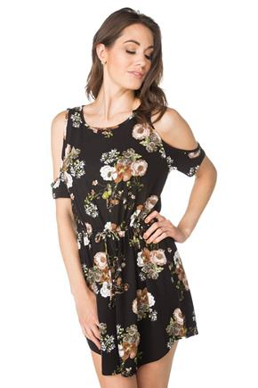 Floral Dress with Drawstring Waist and Cold Shoulder Detail