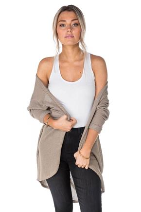 Waffle Knit Cocoon Cardigan with Cuffed Sleeves