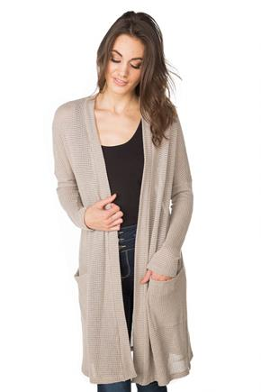 Waffle Knit Duster with Front Pockets