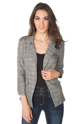 Glen Plaid Blazer with Ruched Sleeves
