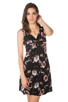 Floral Sleeveless Dress with Knotted Front
