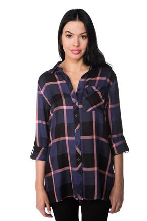 Isabelle Plaid Tunic with Side Slits