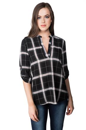 Josephine Plaid Blouse with Roll-up Sleeves