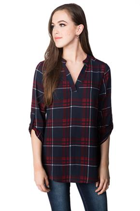 Riley Plaid Blouse with Roll-up Sleeves
