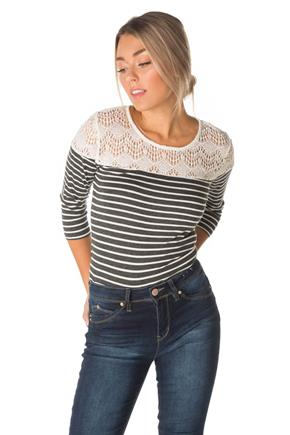 Lace Shoulder Striped Top