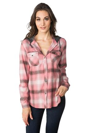 Jorja Plaid Shirt with Hood