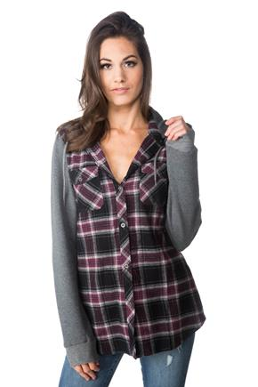 Abby Plaid Shirt with Fleece Hood and Sleeves