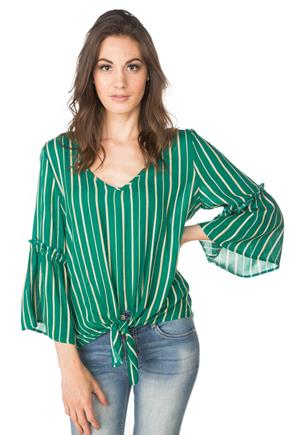 Striped Bell Sleeve Top with Tie Front