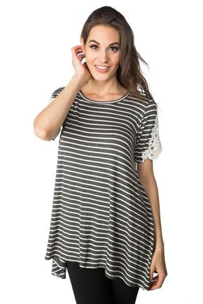 Striped Tunic with Lace Detail