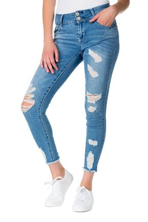 WallFlower Mid-Wash Mid-Rise Luscious Curvy Ripped Anklet Jean