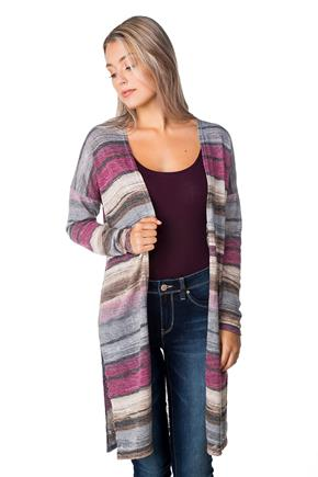 Open Striped Duster with Side Slits