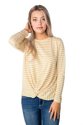 Striped Sweatshirt with Knotted Hem