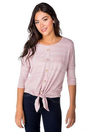 Dolman Top with Button Detail and Tie Front
