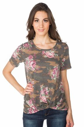 Floral Camo Tunic with Short Sleeves and Knotted Hem