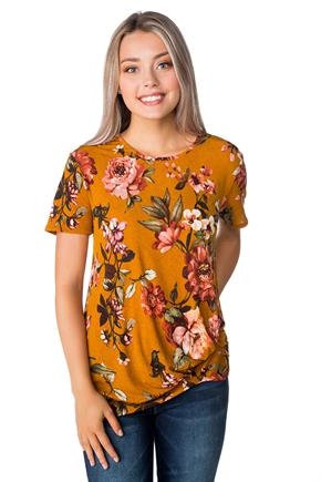 Floral Short Sleeve Top with Knotted Hem