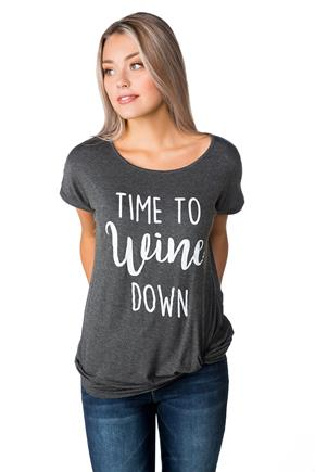 """Time to Wine Down"" Graphic Tee with Knotted Hem"