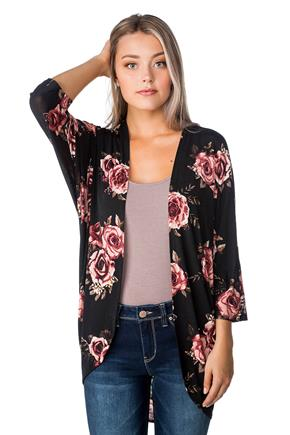 Rose Pattern Cocoon Cardigan with 3/4 Sleeves