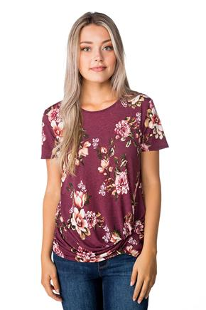 Floral Top with Knotted Hem and Short Sleeves