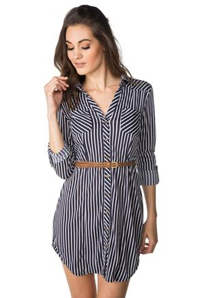 Striped Shirt Dress with Braided Belt