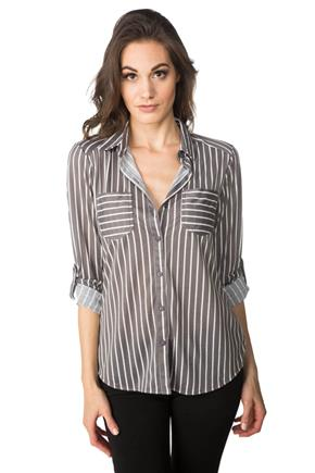 Striped High-Low Hem Shirt with Roll-up Sleeves