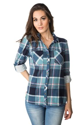 Plaid High-Low Hem Shirt with Roll-up Sleeves and Chest Pockets