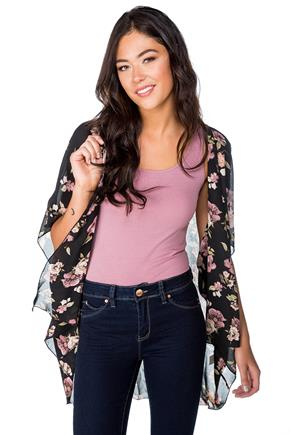 Floral Chiffon Kimono with Short Sleeves